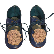 Blue Leather Shoes for French or German Bisque