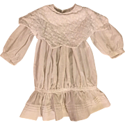 White Dropped Waist Dress for French or German Bisque Dolls