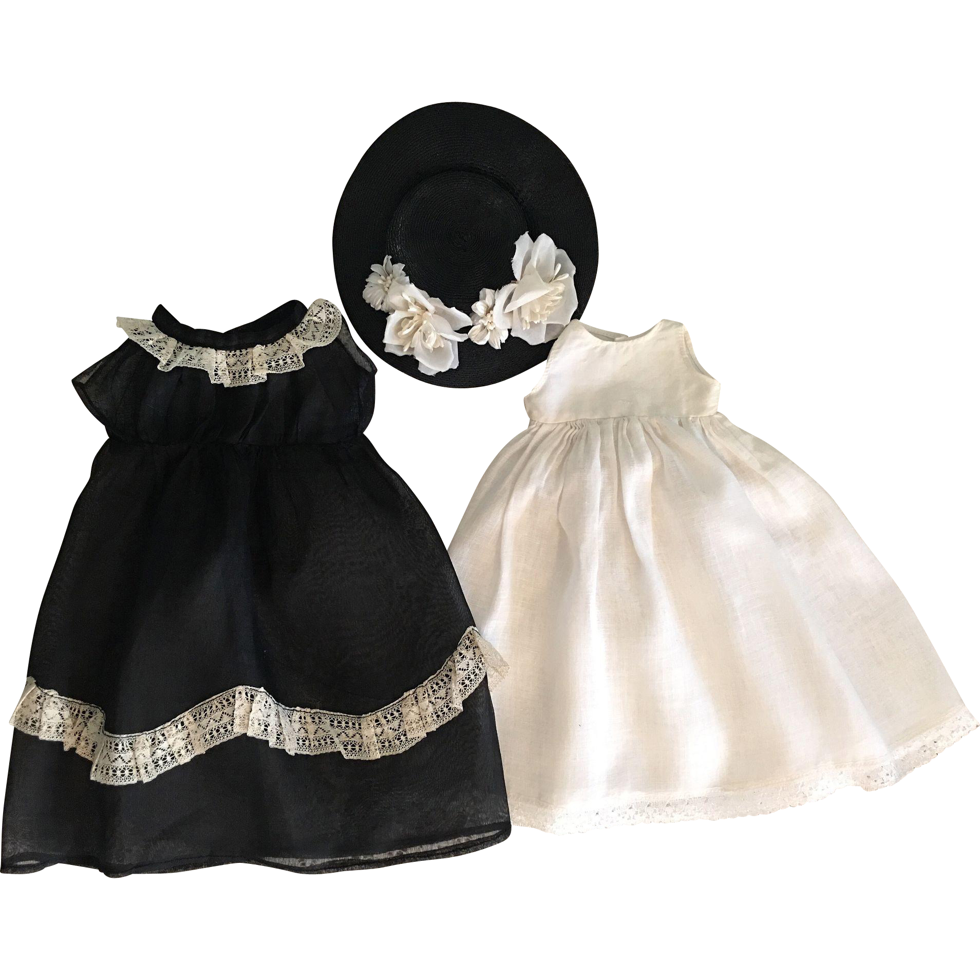 Black Organdy Dress, Straw Hat with Flowers, and Slip for Bisque Dolls 1910