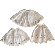 Three Antique Eyelet Slips 1910
