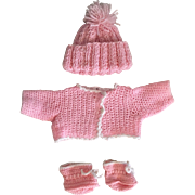 Pink Sweater, Hat, and Booties for Baby Dolls