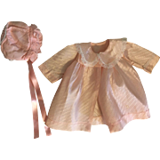 Pink Taffeta Coat and Bonnet for Baby Dolls such as Dy-Dee Lou 1950s