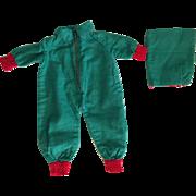 Green Snowsuit with Detachable Hood 1930's