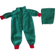 Green Snowsuit with Detachable Hood 1930's