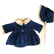 Blue Coat and Bonnet for Big Chubby Dolls 1950s