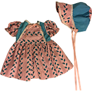 Pink and Turquoise Print Dress and Bonnet for Hard Plastic Dolls 1950s
