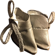 Beige Leather Ankle Boots for Small Bisque Dolls