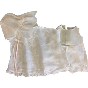 White Batiste Baby/Toddler Doll Dress with Combination Underwear and Bonnet 1920