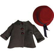 Blue-Gray Coat and Hat for Composition Dolls 1930
