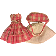 Pink and White Dress, Hat, Slip for Fashion Dolls 1950s