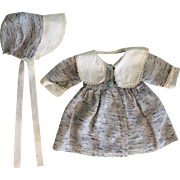 Gray and White Coat and Matching Bonnet for Baby Dolls and Girl Dolls 1950s