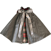 Reversible Wool and Tartan Plaid Cape for Composition and Bisque Dolls 1930s