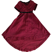 Antique Burgundy Silk Dress for Bisque Dolls