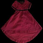 Antique Burgundy Silk Dress for Bisque Dolls