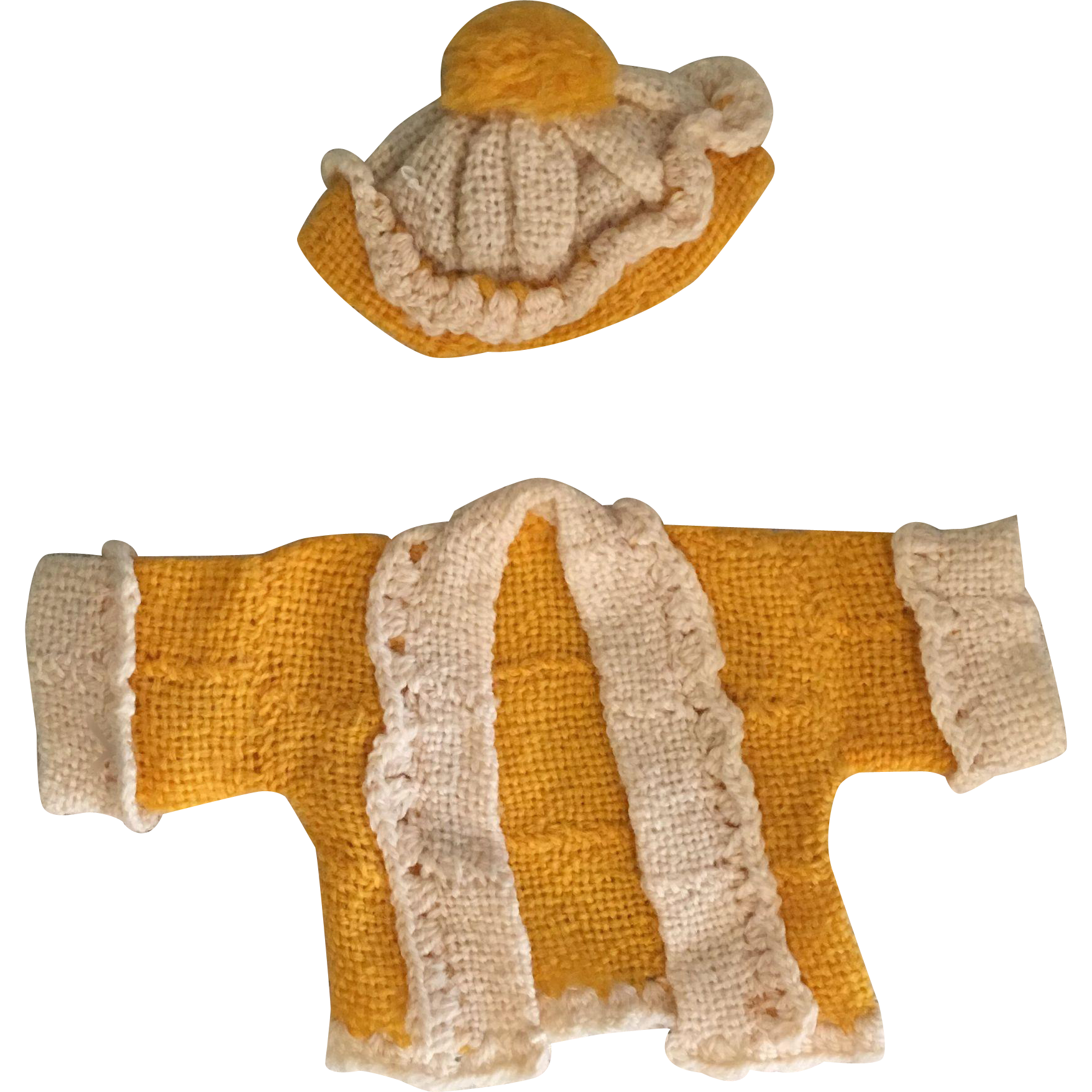 Yellow-Gold and White Sweater and Hat for Shirley and Friends 1930s
