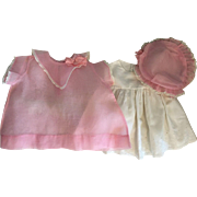 Pink Organdy Dress, Slip, and Hat for Large Baby and Mama Dolls Un-Used 1930