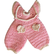Tiny Pink Crocheted Romper