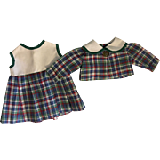 Plaid Dress and Matching Jacket for Composition Dolls 1940