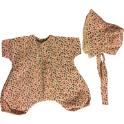 Print Romper and Matching Bonnet for Large Baby Dolls 1940