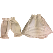 Antique Two Piece Slip Set Bloomers and Half Slip 1800s