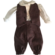 Adorable Three Piece Boy's Outfit for Bisque Dolls
