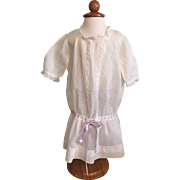Beautiful Dropped Waist White Lawn Dress for Large Bisque Dolls
