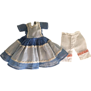 Blue and White Organdy Dress and Bloomers for Small Composition or Bisque