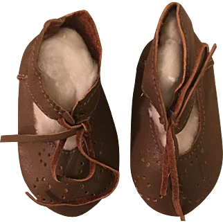 Brown Leather Shoes for Bisque or Composition Dolls