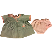 Green Checked Dress and Underwear for Patsy Ann and Friends Dolls 1930