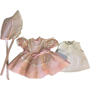 Three Piece Ideal Honeybunch Pink Organdy Outfit 1950s