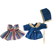 Taffeta Dress, Underwear, Coat and Bonnet for Tiny Tears and Friends 1950s