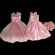 Pink Taffeta and Tulle Tea Dress, Slip, and Underwear for Hard Plastic Dolls Toni 1950s