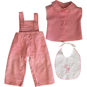Pink Overalls and Blouse for Baby Dolls such as Dy-Dee Lou 1950s