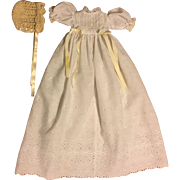 White Eyelet Christening Gown and Bonnet for Baby Dolls