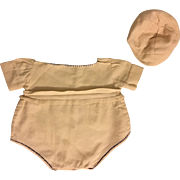 Romper and Cap for Big Babies such as Dy-Dee Lou, Bisque and Composition 1940s