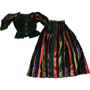 Velvet and Taffeta Outfit for China Head Dolls 1940's