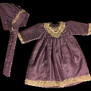 Lavender Dress and Bonnet for Bisque Dolls