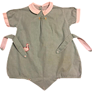 Green Toddler Romper with Embroidery 1910