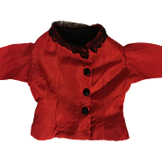 Antique Red Taffeta Blouse for Bisque Dolls 1900