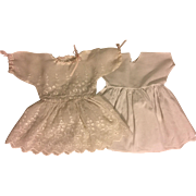 White Embroidered Organdy Dress for Large Bisque Dolls 1910