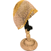 Yellow and Cream Tatted Bonnet for Baby Dolls 1910