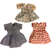 Three Dresses for Hard Plastic or Composition Dolls 1950s
