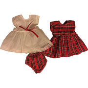 Taffeta Plaid Dress, Pinafore Outfit for American Character Tiny Tears Doll 1950s