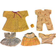 Six Piece Layette for Tiny Tears Doll and Friends in Yellows 1950s