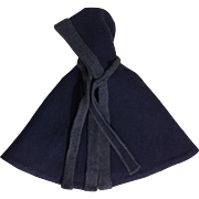 Blue Hooded Eiderdown Doll Cape 1940s