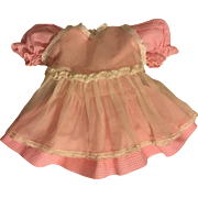 Pink and White Gingham Dress and Pinafore for Hard Plastic and Composition Dolls