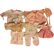 Seven Piece Layette for American Character Tiny Tears and Friends Pinks 1950s