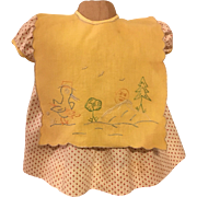 Yellow and Pink Print Dress and Mother-Goose Bib for Big Babies like Dy-Dee Lou 1950s