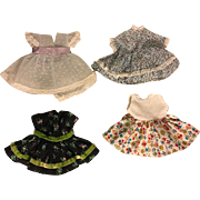 Four Dresses for Eight Inch Dolls such as Vogue Ginny and Friends 1950s