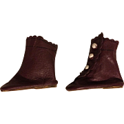 Leather Side-Button Boots for Bisque Dolls